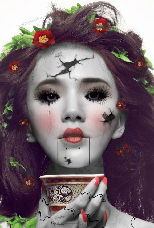Halloween Makeup: Broken Puppet / Doll / Ventriloquist Dummy (love the details on the fingers!)