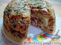 """Фото к рецепту: Блинный торт """"Черепаший панцирь"""""""