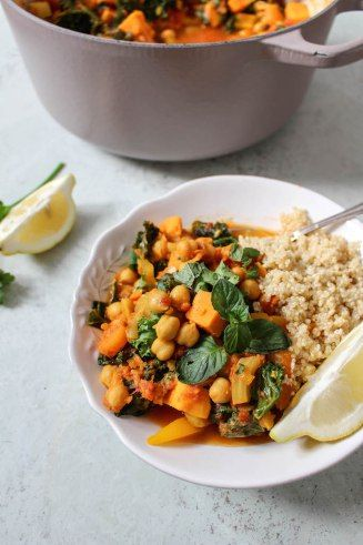 Moroccan Spiced Chickpea, Kale and Sweet Potato Stew - plant based, vegan, vegetarian, refined sugar free, gluten free - heavenlynnhealthy.com                                                                                                                                                                                 More
