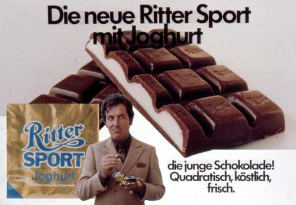 1970 - Ganz Deutschland wird Quadratisch mit der Sorte RITTER SPORT Joghurt