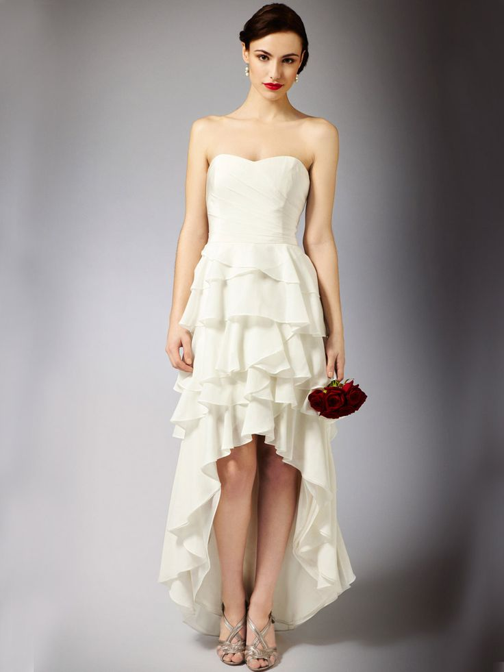 High Low Wedding Dress with Strapless Bodice and Modern Multi-layered Skirt