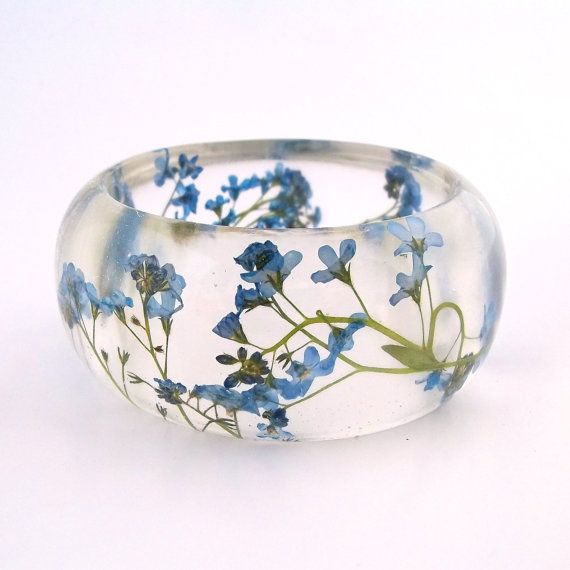 Forget Me Nots Resin Bangle Bracelet –  – Blue Real Flowers Cuff –  Pressed Flow