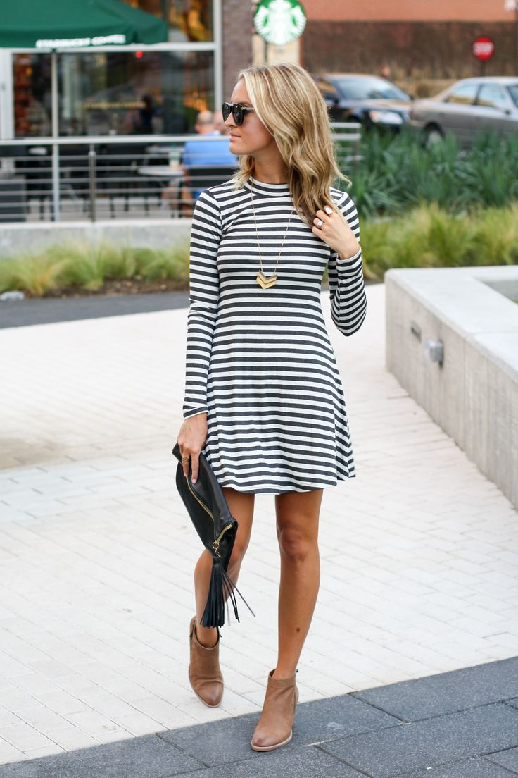 stripe dress and heeled ankle boots