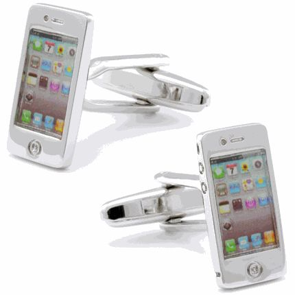 Silver Shiny Phone Cufflinks, Fine Men's Jewelry by Cufflinksman