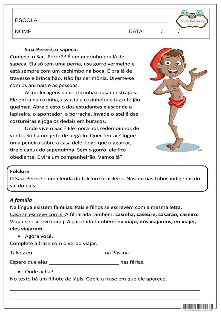 SOS PROFESSOR-ATIVIDADES: Saci-Pererê, o sapeca