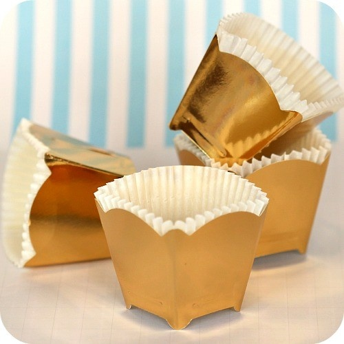 Square Gold Crown Baking Cups