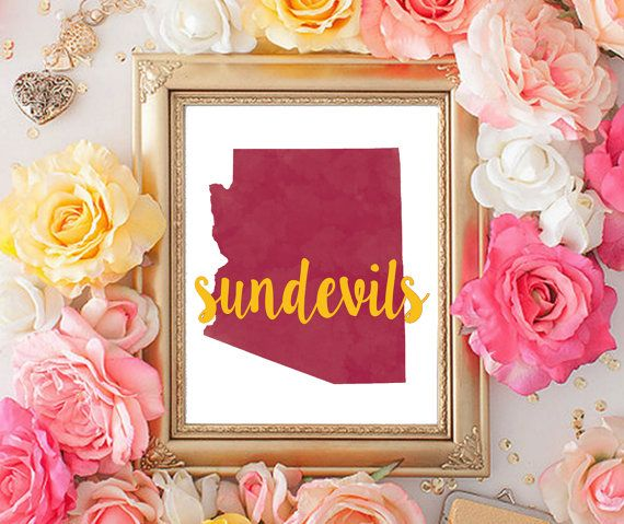 Arizona State University Watercolor Printable by CollegeAintCheap
