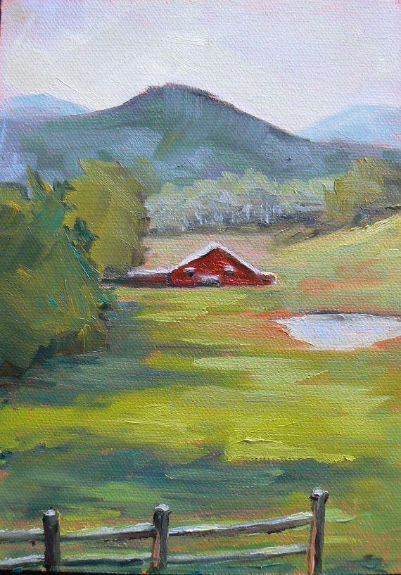 Farm Landscape Painting Barn Painting Impressionist Art