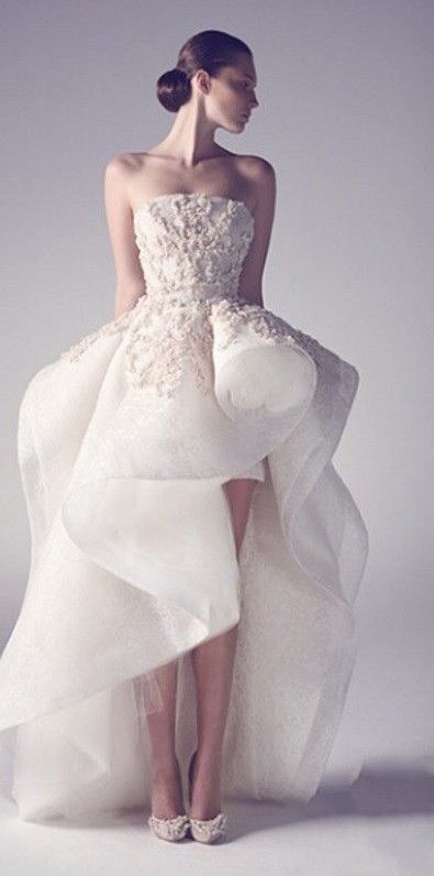Strapless Organza High-Low Wedding Dress with Ruffled Skirt