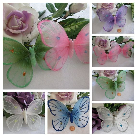 """Nylon Butterflies White, Pink, Green, Royal Blue, Purple, Silver for Wedding Decor,  Party Favors,  2 Pieces- 6"""" x 4"""" You Choice of Color"""