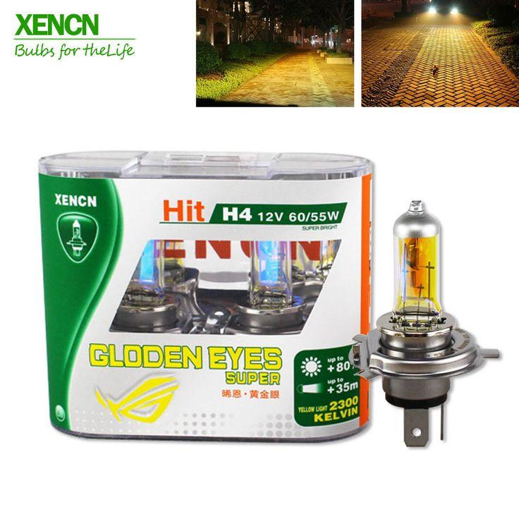 Xencn h4 12 v 60/55 w p43t 2300 k ojos de oro super amarillo luz halógena coche bombillas faros más brillante envío gratis 2 unids