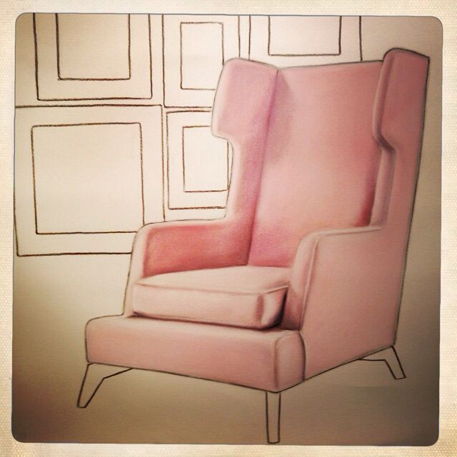 Pink chair in soft pastel by Sarah Carter-Jenkins