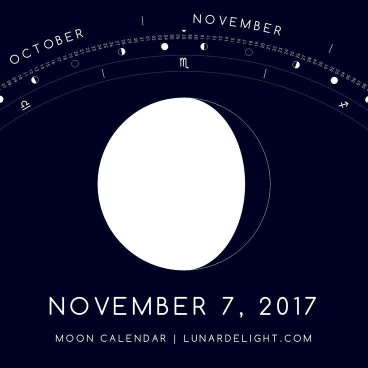 Tuesday, November 7 @ 11:31 GMT  Waning Gibboust - Illumination: 85%  Next New Moon: Saturday, November 18 @ 11:42 GMT Next Full Moon: Sunday, December 3 @ 15:48 GMT