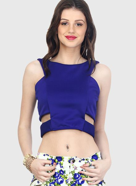 Buy Faballey Blue Solid Crop Top for Women Online India, Best Prices, Reviews | FA903WA05RHQINDFAS