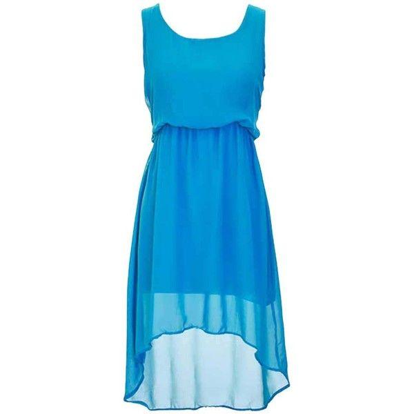 Blue Billowy Chiffon High-Low Sleeveless Empire Waist Dress ($19) ❤ liked on Polyvore featuring dresses, blue, short front long back dress, sleeveless dress, mullet dress, hi low dress and blue hi low dress