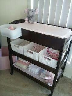 Organizing the baby changing table