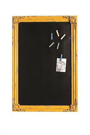 A beautiful vintage style blackboard with yellow coloured wood frame, which includes 6 magnetic pe