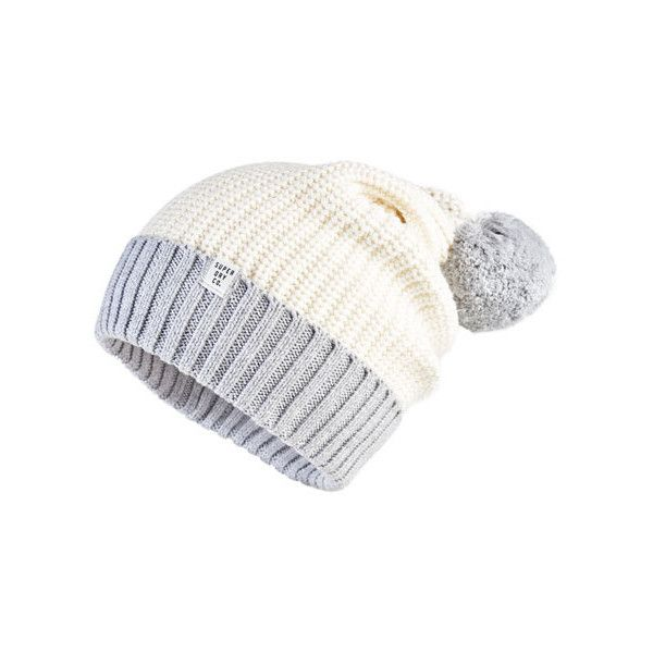 Superdry Colour Block Beanie (78 BRL) ❤ liked on Polyvore featuring accessories, hats, cream, bobble beanie hat, cream hat, superdry, bobble beanie and beanie cap