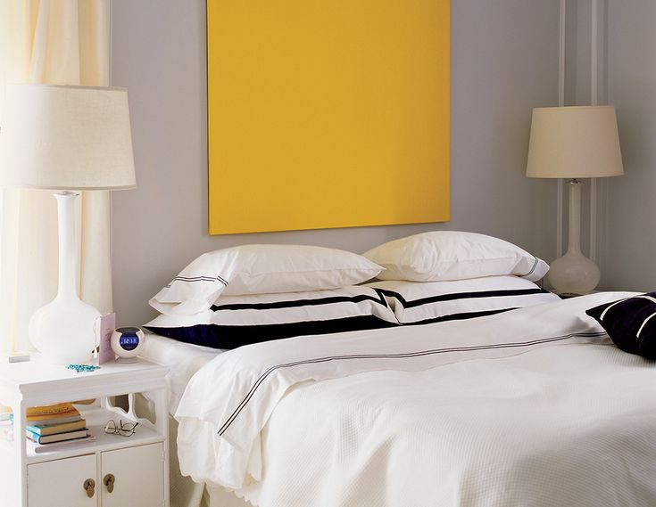 """bedroom paint color ideas on domino.com  """"Iced cube silver"""" by Benjamin Moore"""