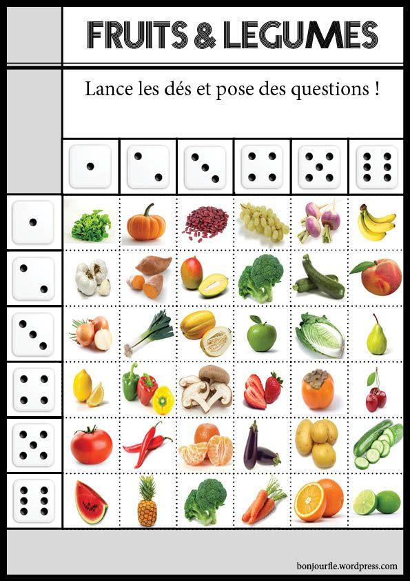 Jeux avec des d s fle and fruit for Anglais vocabulaire maison
