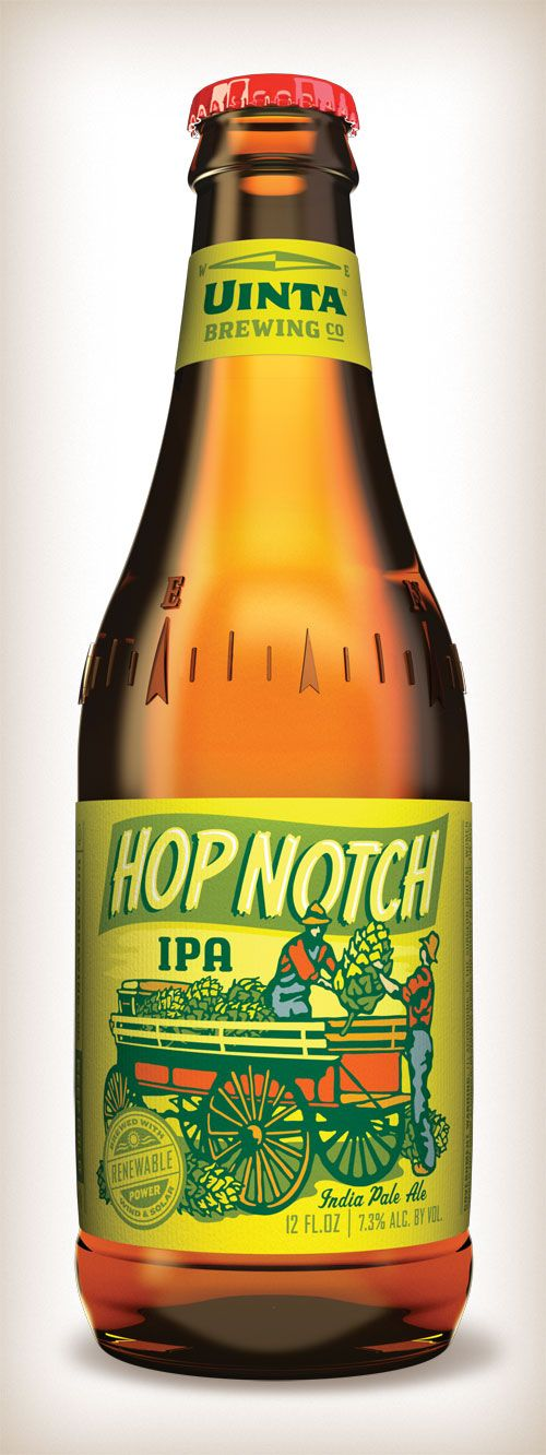 Hop Notch IPA label and bottle design for Uinta Brewing Company, Salt Lake City, Utah; not only do I LOVE this beer, but I LOVE the label design, and I LOVE that it is local!