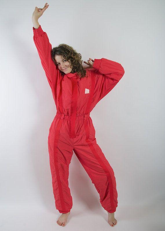 Vintage 80's 90's Ski Suit Red One Piece Jumpsuit by VintageSisBro