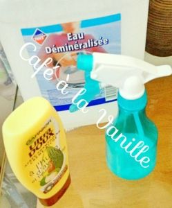 Fabriquer son leave-in conditionner spray. Make your own spray on leave in conditionner.