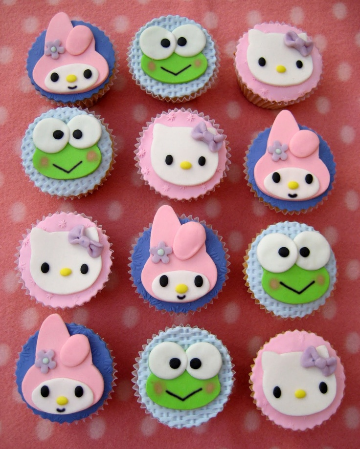 Cupcakes decorados con pastillaje y figuras H.K.: Beauty Cupcakes, Cupcakes Ideas, Cupcakes More Concepción, Decorated Cupcakes, Top Cakes Cupcakes Cookies, Hello Kitty Cupcakes