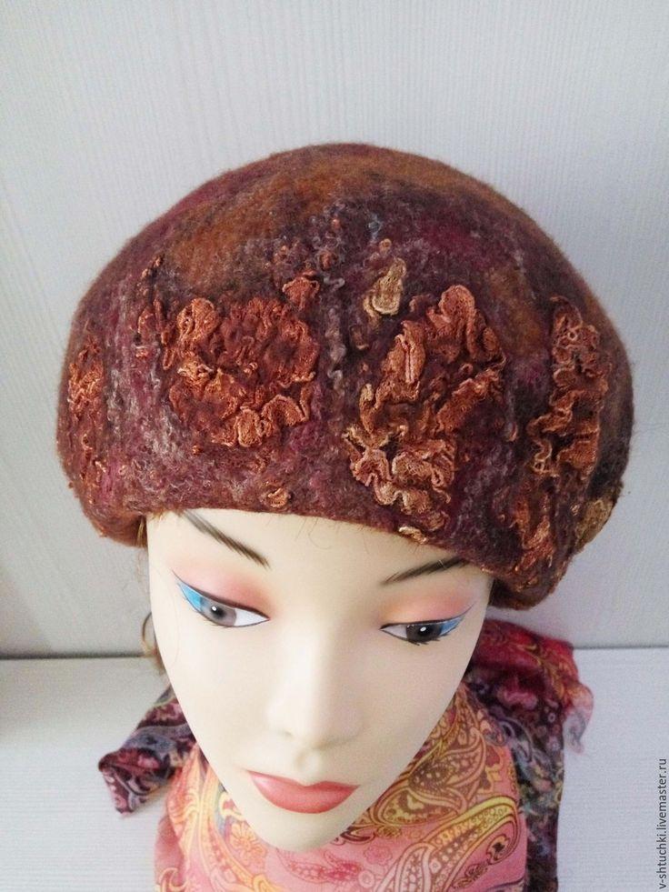 Купить Берет валяный Шоколадный дессерт - абстрактный, шапочка валяная, шапка женская, шапочка женская