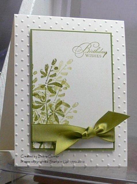 handmade birthdayt card from ARTfelt Impressions ... clean design ...greens ... Watercolor Trio ... Stampin' Up