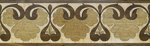 Shell-Leaf border.  Species used: maple, walnut & oak. #border #floorborder #woodfloorborder #woodfloor #wood #woodworking #woodfloordesign #inlay #intarsia  #art #design #floor #floormedallion #functionalart #hardwoodfloor #inlaid #marquetry #pattern #parquet #woodinlay