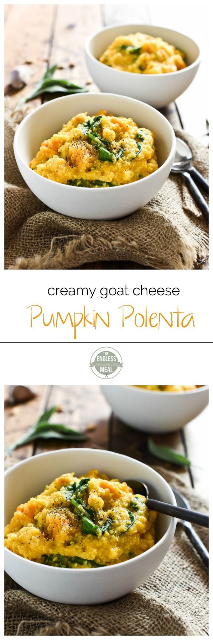 Creamy Goat Cheese and Pumpkin Polenta | this quick and easy to make fall dinner recipe is the perfect way to warm up on a chilly night. | theendlessmeal.com