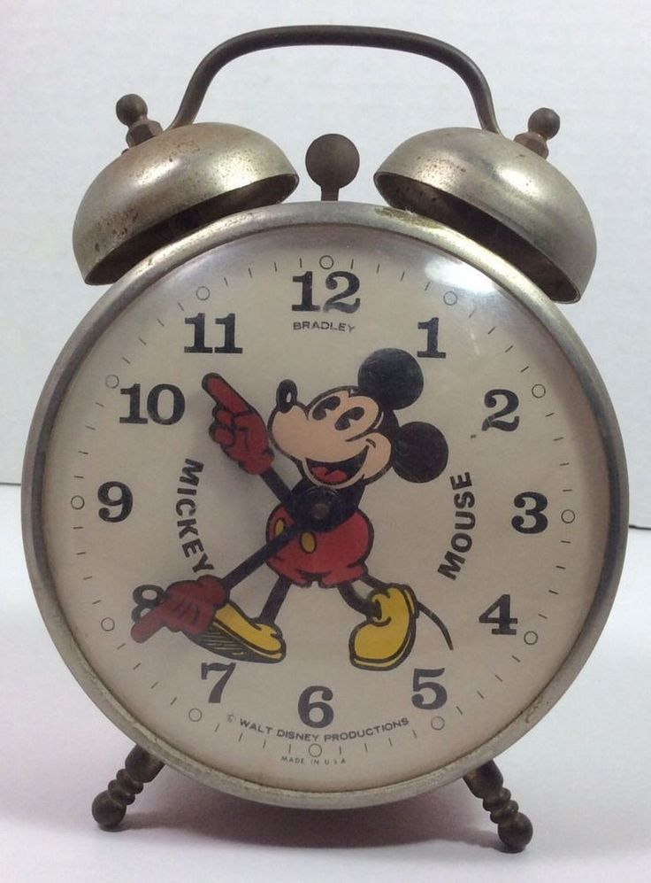 Vintage Mickey Mouse Alarm Clock Walt Disney Productions ~  windup 2 bell RARE!!