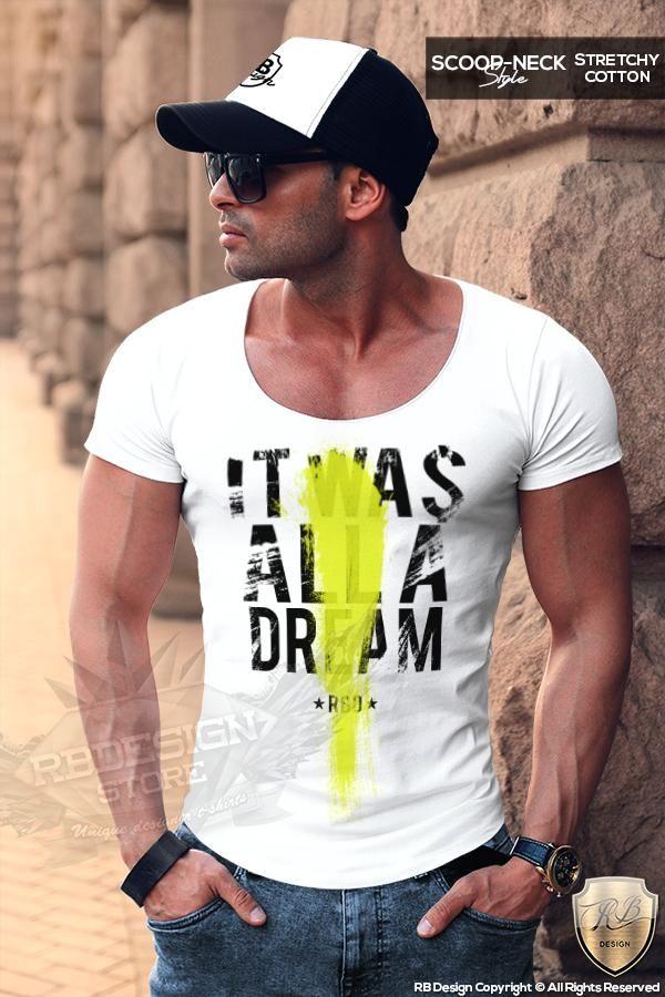 ea3130e3 It Was All A Dream Men's T-shirt Deep Scoop Neck Tee Slogan Tank Top ...