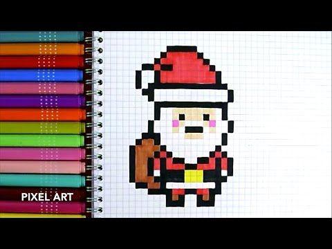 Youtube Pere Noel 3) COMMENT DESSINER LE PÈRE NOËL (4)   YouTube | Pixel art noel