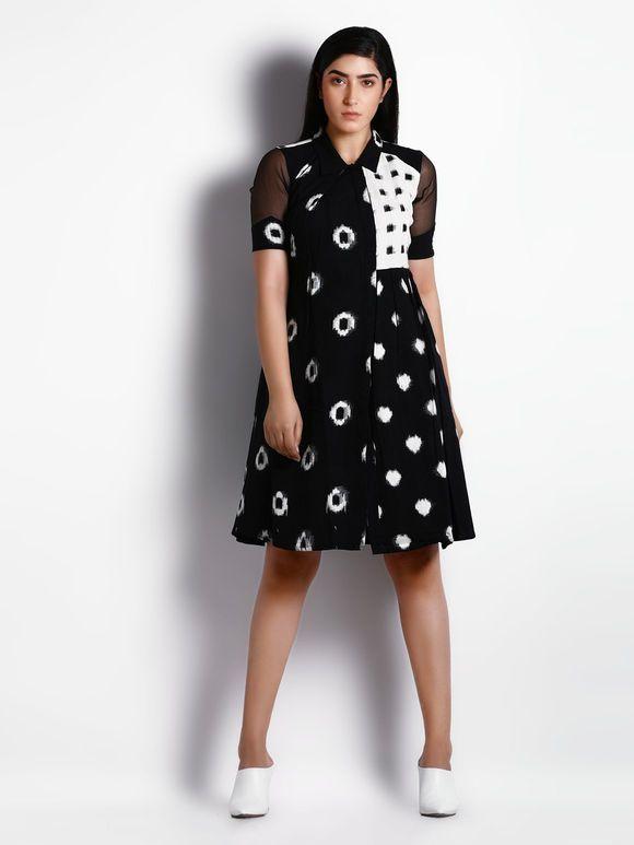 c5755db1c92de Black White Cotton Ikat Crop Top with Skirt - Set of 2 in 2019 ...