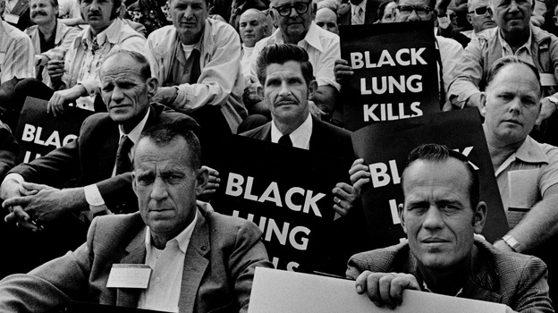 """Coal miners rally for black lung law reform on the steps of the U.S. Capitol in 1975. (See more from Earl Dotter's """"Quiet Sickness"""" series here - on NPR site.)"""