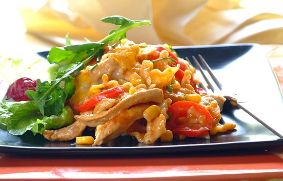 Red pepper, corn and chicken combine to make this an unusual yet scrumptious lasagne dish.