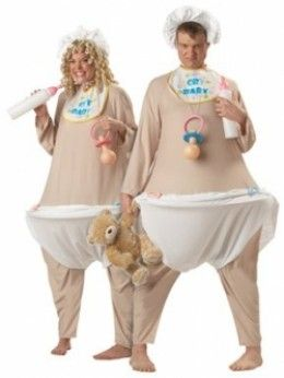 Adult Baby Costume. How to dress like a baby for Halloween. Would you dress up like this?