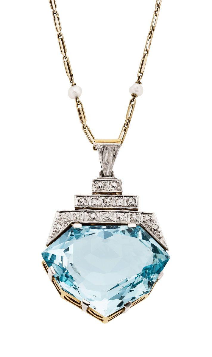 Retro Aquamarine, Diamond and Seed Pearl, Platinum-Topped Gold Pendant/Necklace, ca. 1946