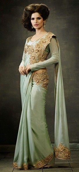 Sea Green Silk Crepe Saree with Zari,Resham Thread and Stone Work #bandbaajaa.com #bandbaajaa #weddingsarees #weddingsaris #bridalsarees #bridalsaris #designersarees #designersaris #sarees #saris #weddingwear #weddingshopping