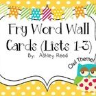 "This unit includes the first 300 Fry words in the form of Owl Word Wall Cards.  Each card measures approximately 2.5"" tall x 5"" wide and coordinate..."