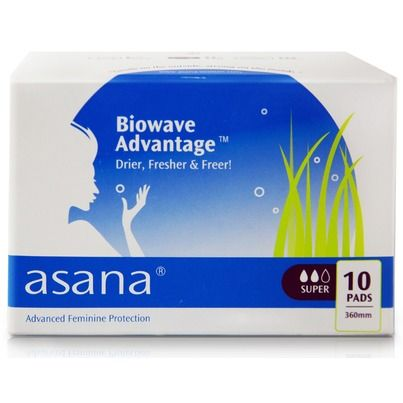 Asana Sanitary Napkins contain a patented Biowave Advantage™ layer. This technological advancement in feminine protection combines powerful Minerals with Nano-Silver technology to create a naturally antibacterial layer. Health Canada has classified the Biowave Advantage™ layer as a Medical Device Class 1 (antibacterial). Independent testing by SGS Group  has certified the Biowave Advantage™ layer as 99.99% effective on the bacteria escherichia coli, staphylococcus aureus, and candida yeast.