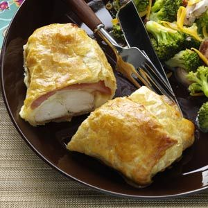 Chicken cordon bleu, easy and delicious!!  I used extra cheese and ham, but other than that the recipe was great!
