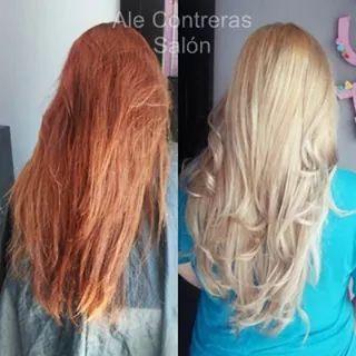 Cambio de look tono cobre a rubio frio / red hair to blondie hair dramatic change