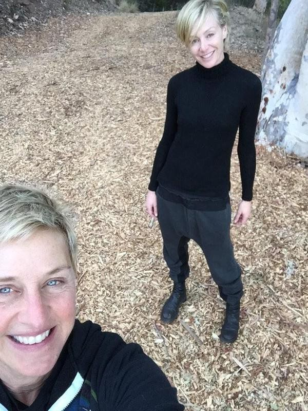 Pin for Later: Ellen DeGeneres and Portia de Rossi Have the Look of Love Down  The couple took a leafy walk in November 2014.