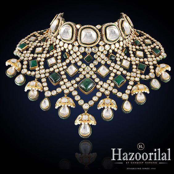 Hazoorilal Jewellers – Emerald and Polki necklace