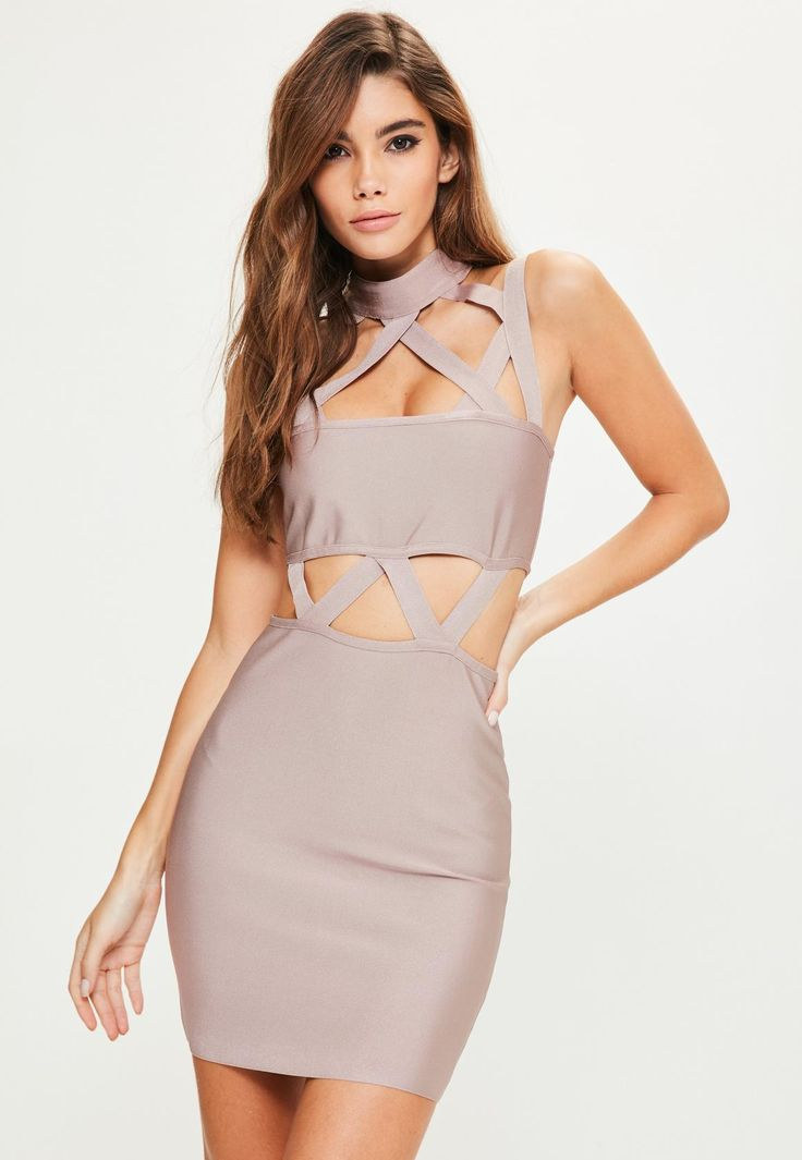 Purple Bandage Lattice Bodycon Dress - Missguided