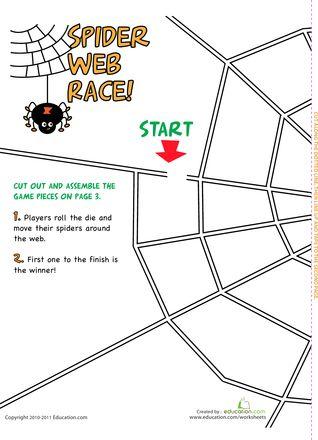 Printable Spider Game, Free! Preschool/Kindergarten level