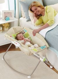 Fisher-Price Rock 'n Play (~$80): The can't-live-without this! Gets baby off the ground and out of dog-face-licking range. Easy to carry around and babies love it! Read more at http://www.lucieslist.com/baby-registry-basics/best-swings-and-bouncers/#recos